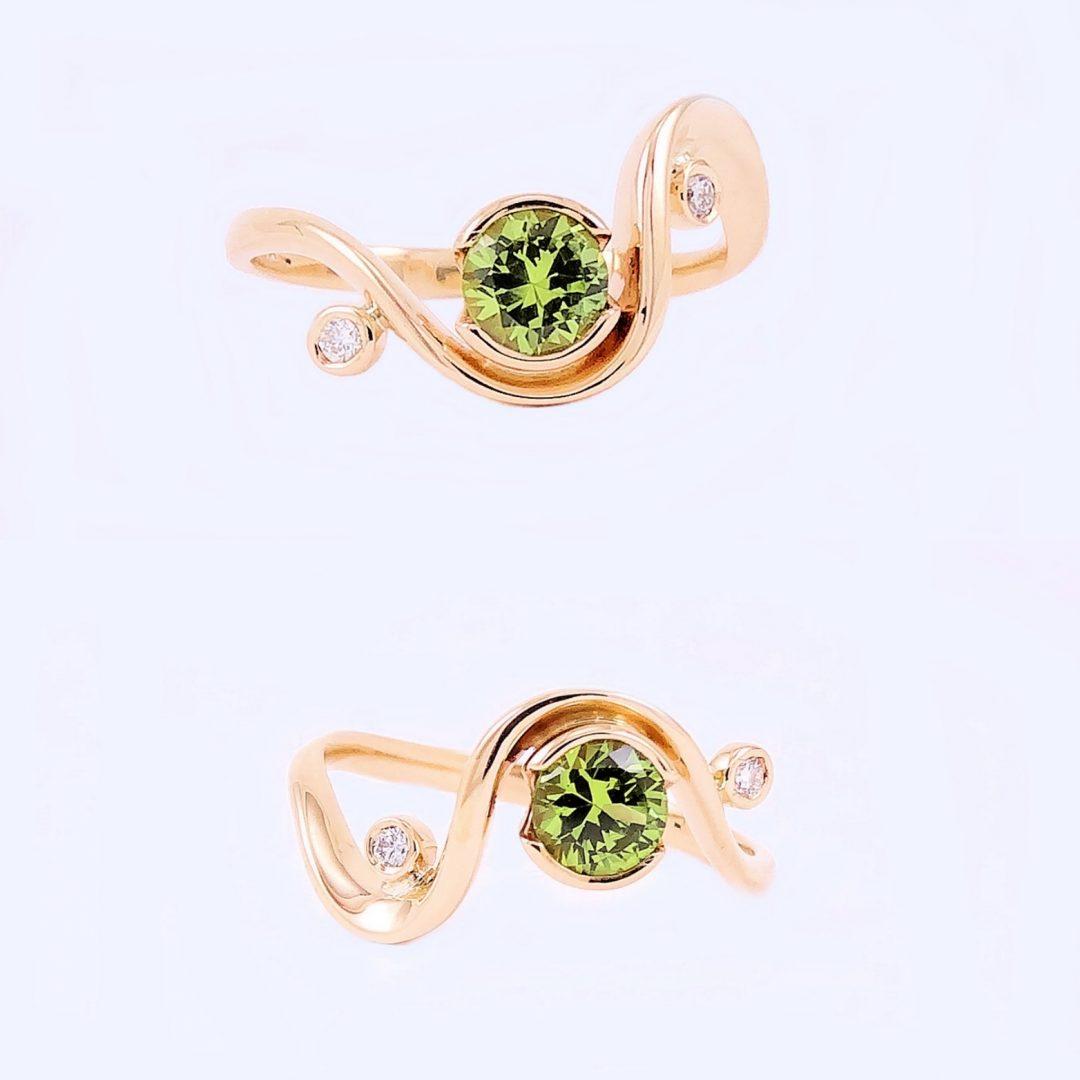 Green Australian Sapphire + Diamonds