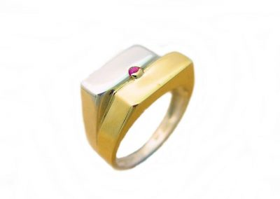 9ct Yellow Gold And Silver Mens' Ring Set With Cabachon Ruby