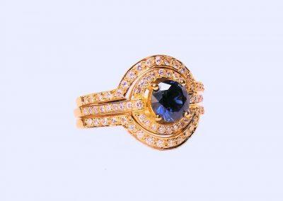 Australian Blue Sapphire and Diamond Engagement Ring