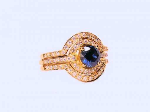 Australian Blue Sapphire and Diamond Engagement Ring