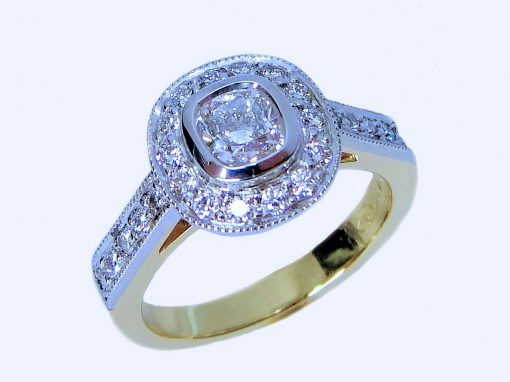Gold silver ring with diamonds